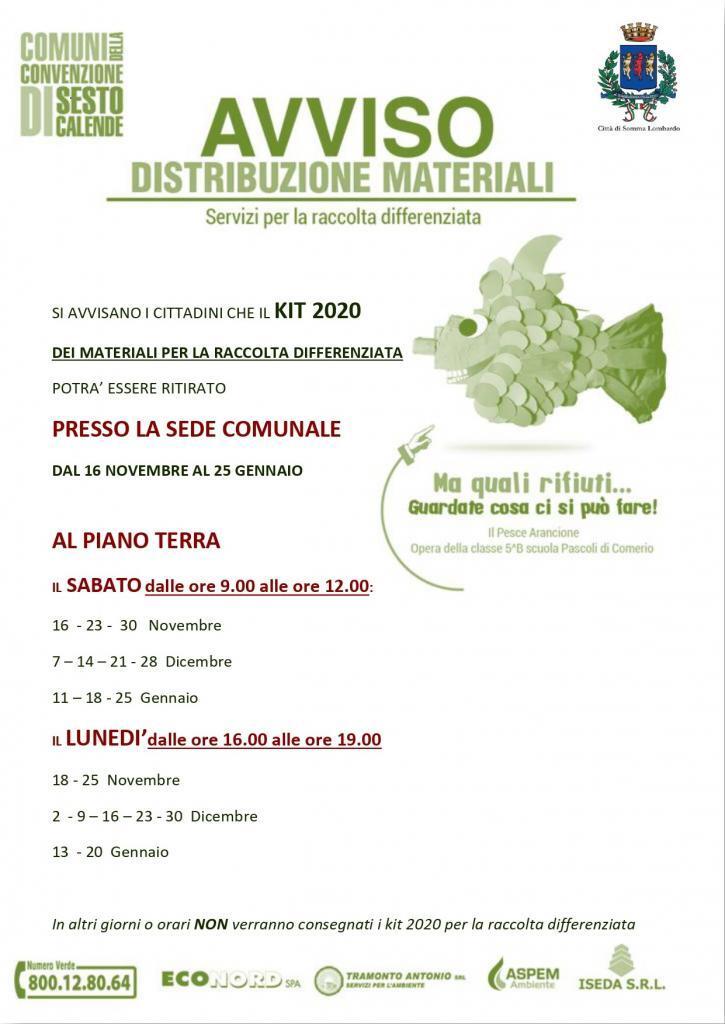 Ritiro kit 2020 raccolta differenziata in Comune: date e orari