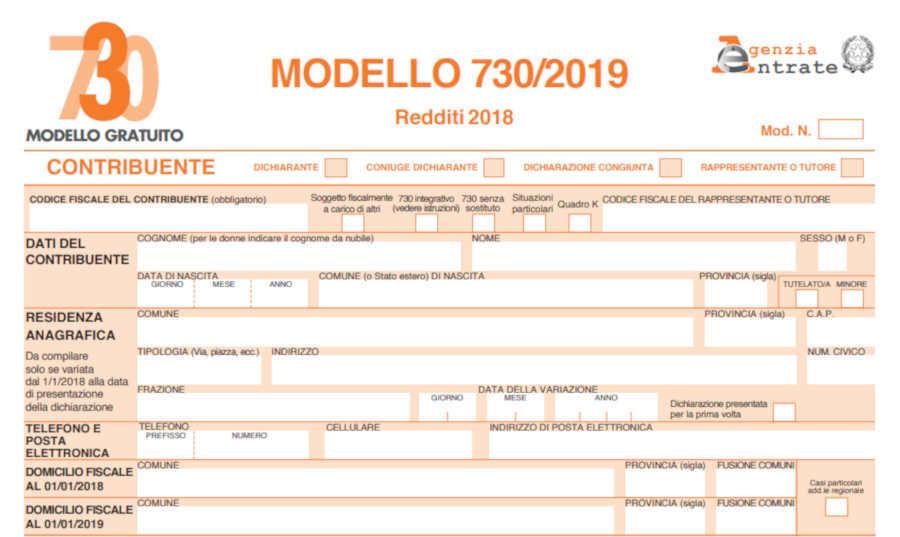 Modelli 730/2019 e Redditi 2019 disponibili in Comune