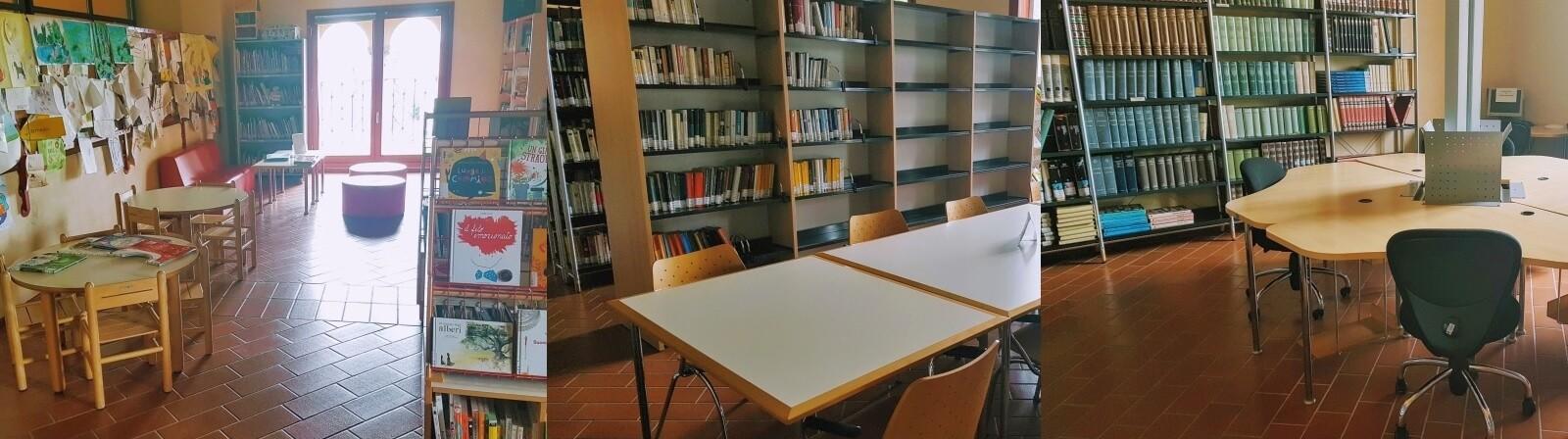 Foto con tre diversi scorci dei locali della biblioteca comunale