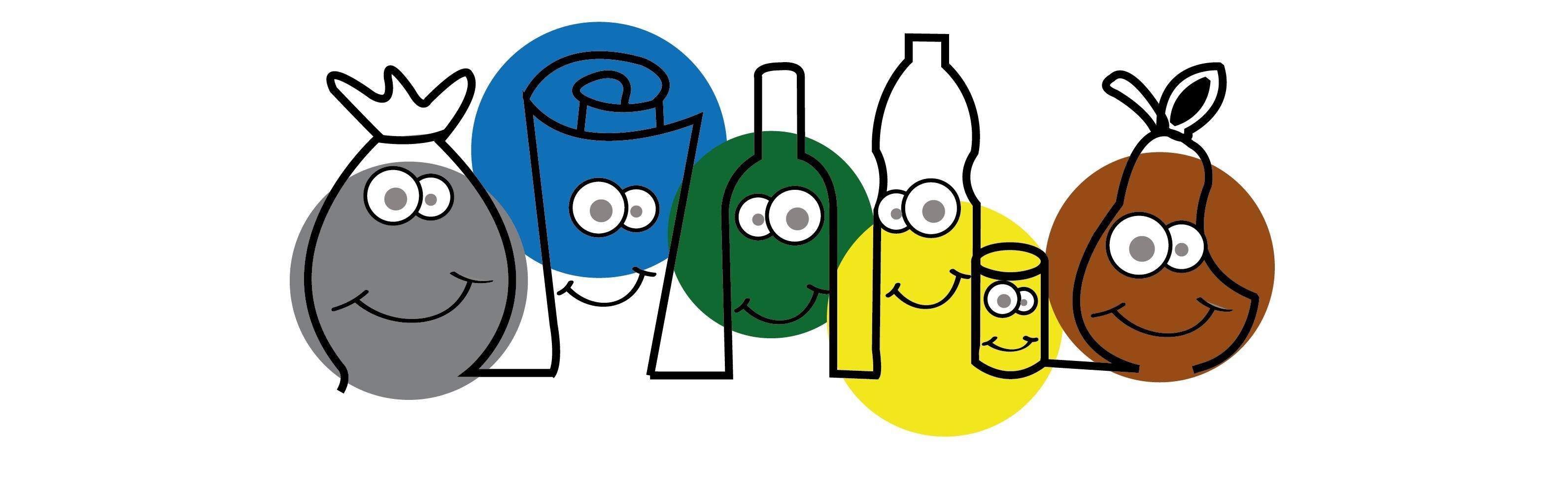 Immagine stilizzata raffigurante diverse tipologie di rifiuti
