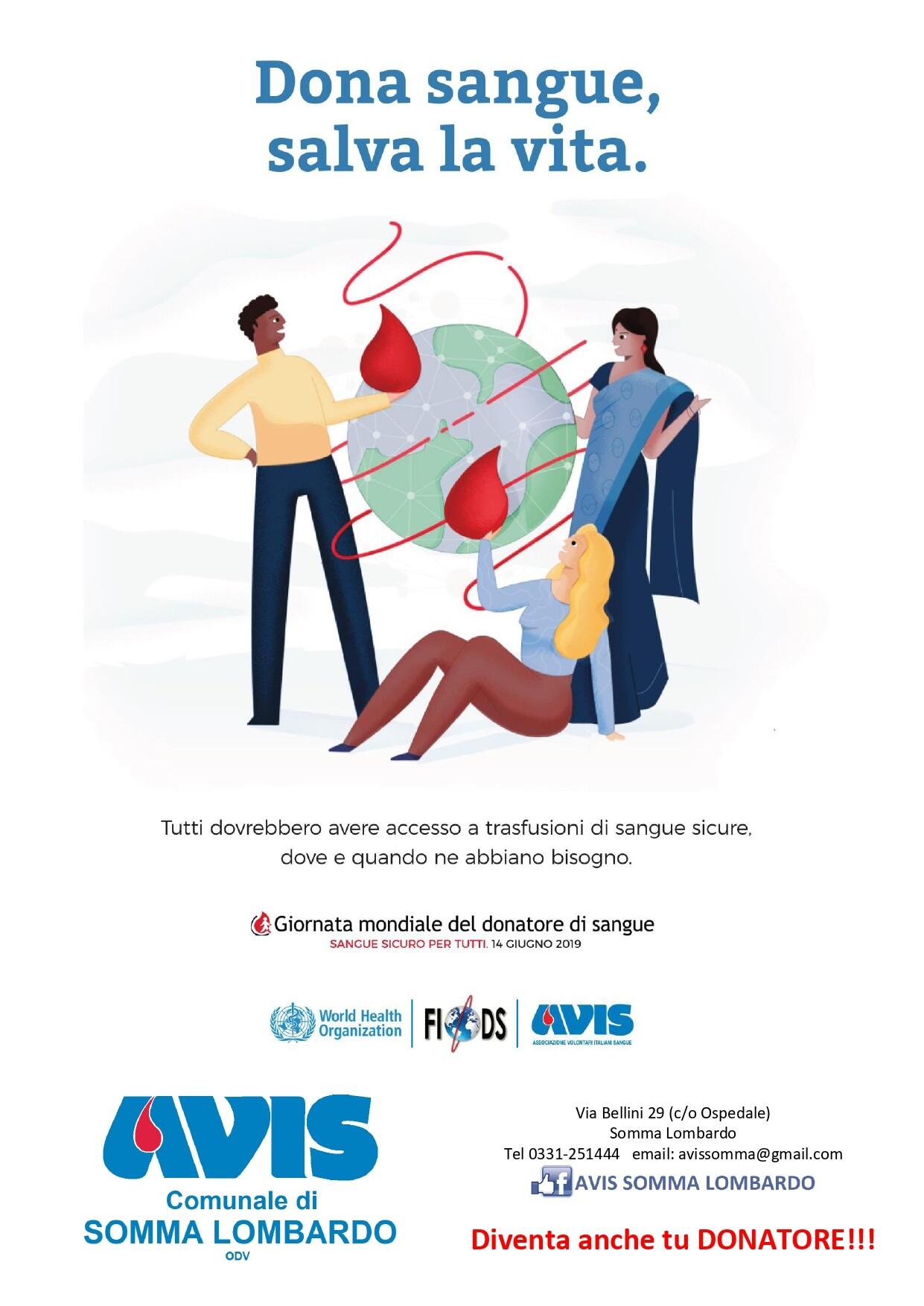 14 giugno, Giornata Mondale del donatore di Sangue