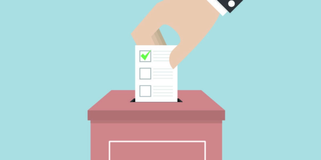 Immagine introduttiva stilizzata che rappresenta una mano che inserisce una scheda elettorale nell'urna